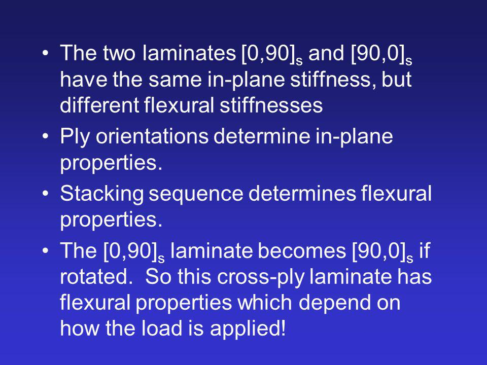 The two laminates [0,90]s and [90,0]s have the same in-plane stiffness, but different flexural stiffnesses
